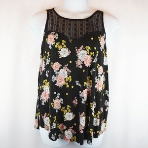 Torrid Tank Top Lace Illusion Panel Black Floral